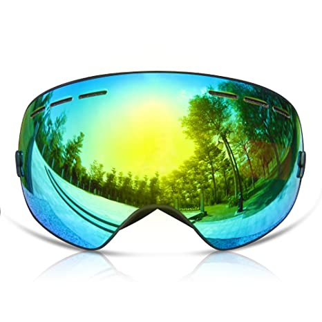 aebf91972500 GANZTON Ski Goggles Skiing Snowboard Windproof Goggles with OTG Over Glasses,Double  Lens,Anti-UV Anti-Fog and Interchangeable Lens Sunglasses,Helmet ...