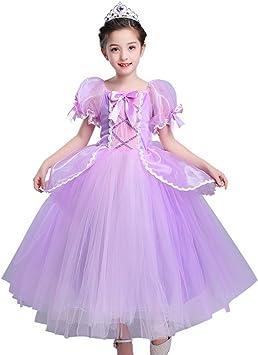 Disfraz de Princesa Rapunzel para niñas, Vestido de Malla, Vestido ...