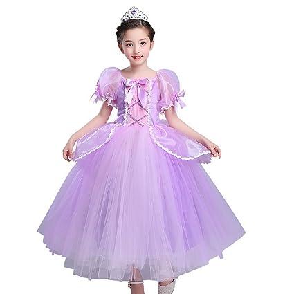 Disfraz de Princesa Rapunzel para Niñas, Vestido de Malla, Vestido de Tul con Mangas