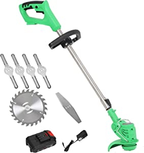 Kecheer Edger Lawn Mower 21V 3000mAh Lithium-Ion Cordless Weed Brush Cutter Kit Pruning Cutter Garden Tools US Plug with Replace Blade