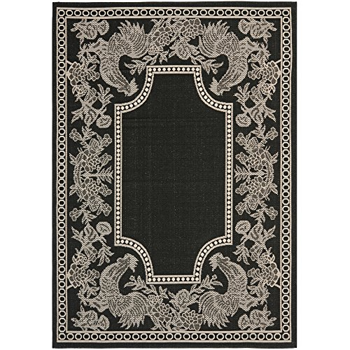 Safavieh Courtyard Collection CY3305-3908 Black and Sand Indoor/Outdoor Area Rug (4' x 5'7