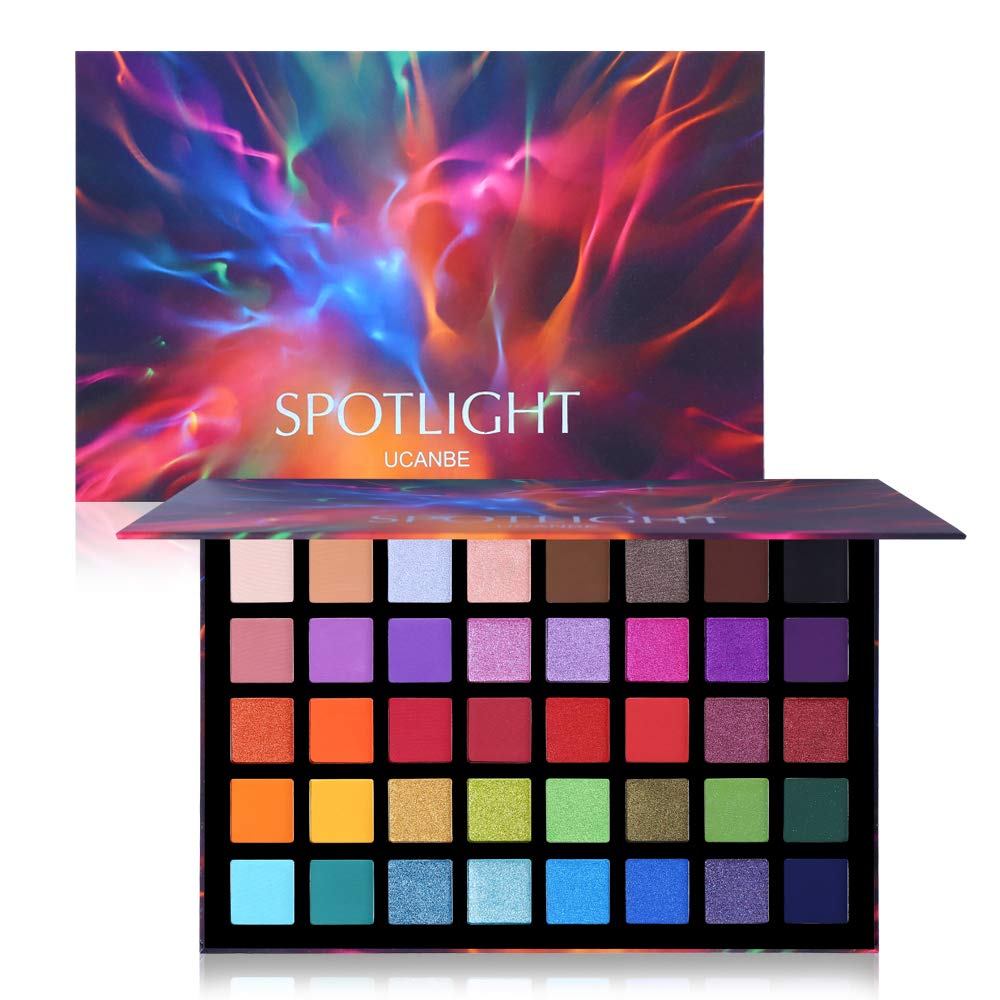 UCANBE Spotlight Eyeshadow Palette Professional 40 Color Eye Shadow Matte Shimmer Makeup Pallet Highly Pigmented Colorful Powder Long Lasting Waterproof Eye Shadow