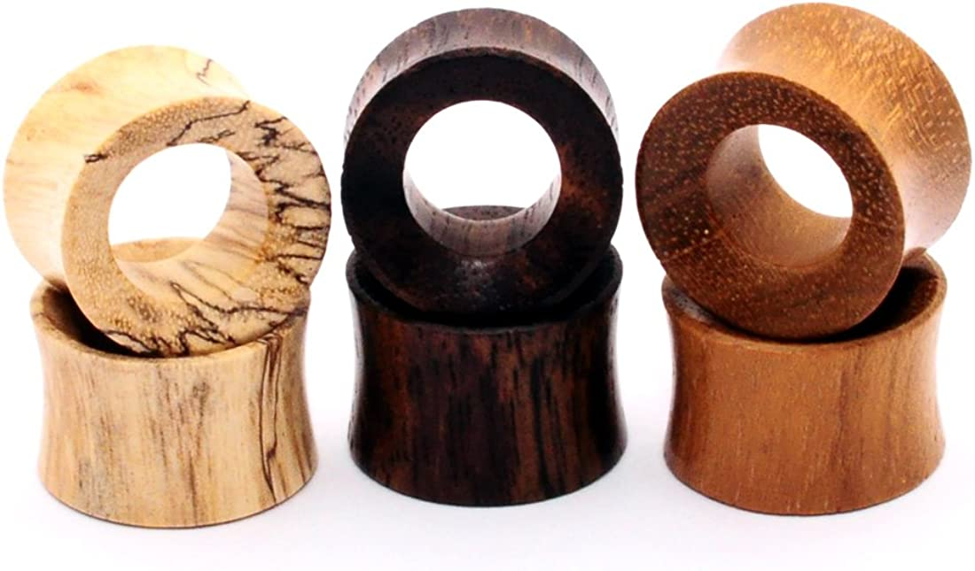 Mystic Metals Body Jewelry Set of 3 Pairs Wood Tunnels (Tamarind, Teak, Sono)