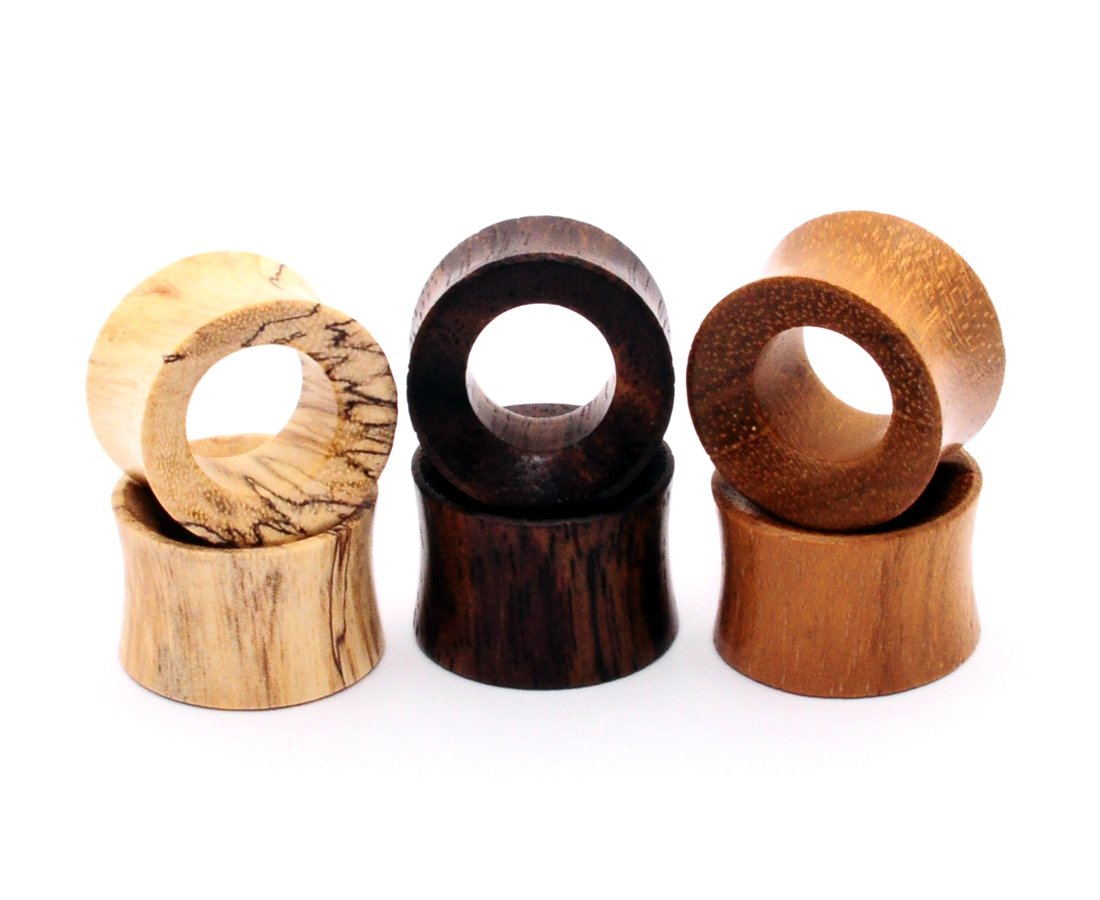 Mystic Metals Body Jewelry Set of 3 Pairs Wood Tunnels (Tamarind, Teak, Sono) (00g (10mm)) by Mystic Metals Body Jewelry