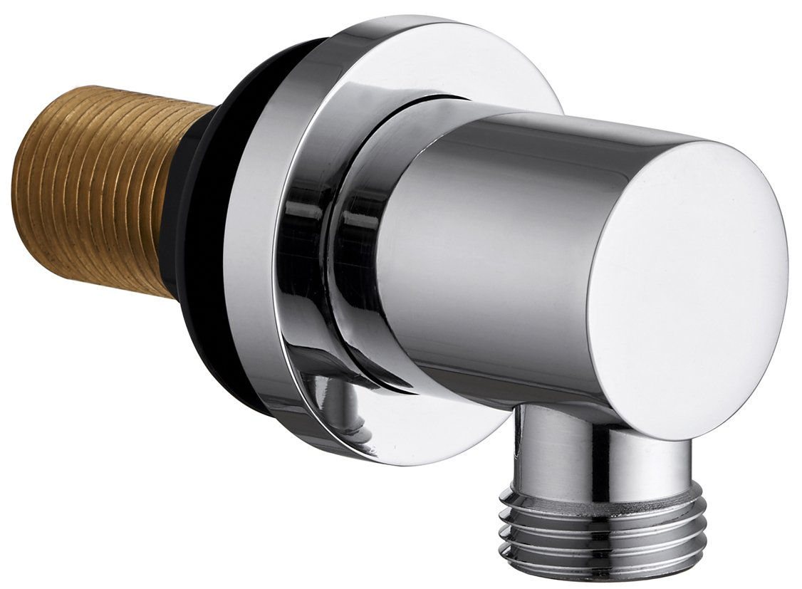 Round / Square Chrome Shower Wall Mounted outlet hose connection elbow 1/2