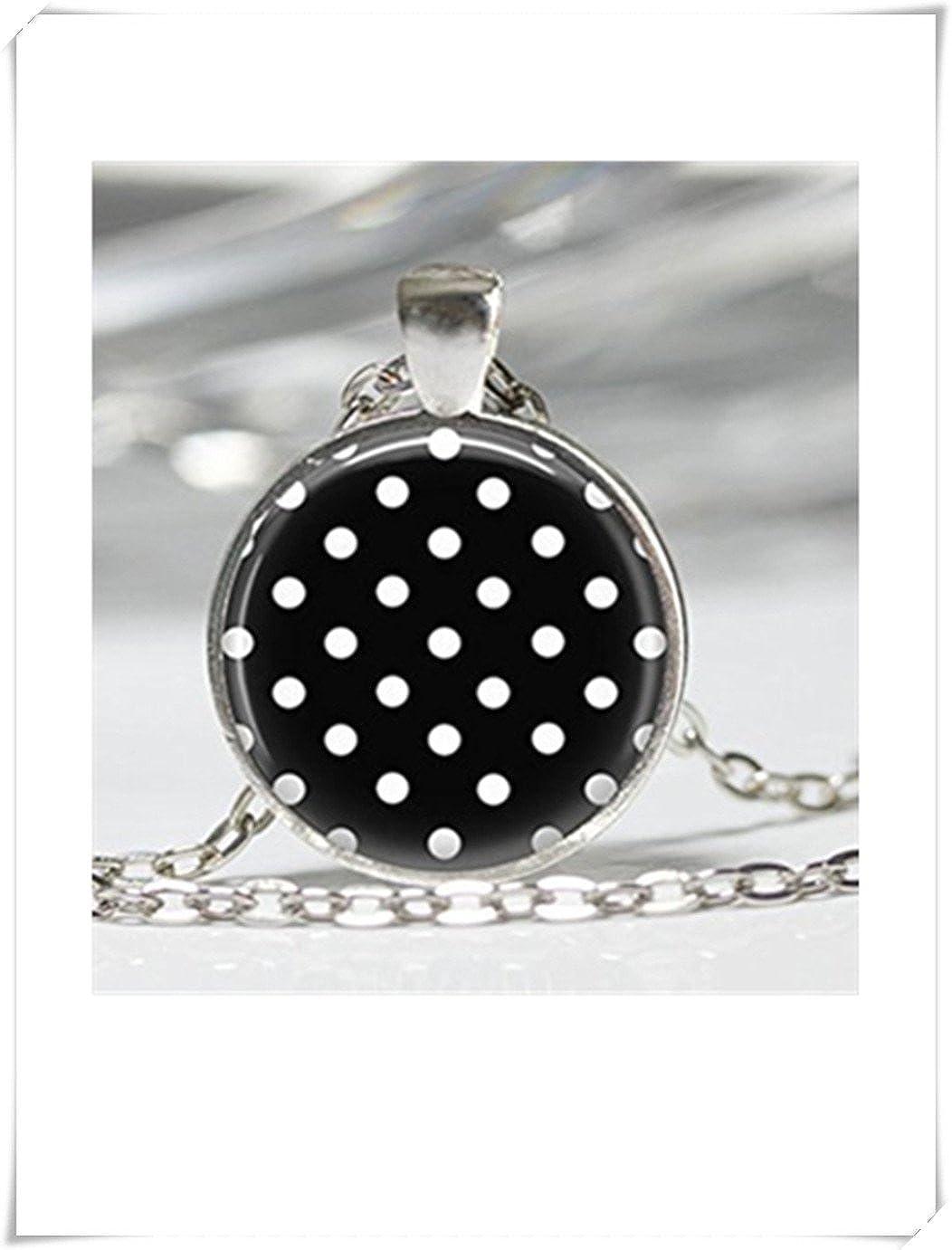 Collar de lunares, color negro y blanco, diseño de lunares, joyería arte colgante con cadena de bolas incluido meet you VT57