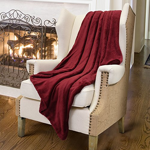 Sherpa Throws Blanket,Luxury Reversible Match Color Super Soft Fuzzy Micro Plush Fleece Snuggle Thick Gift Blanket All Season for TV Bed or Couch 50 x 60 Wine Dark Red By Catalonia (Thank U For The Gift)