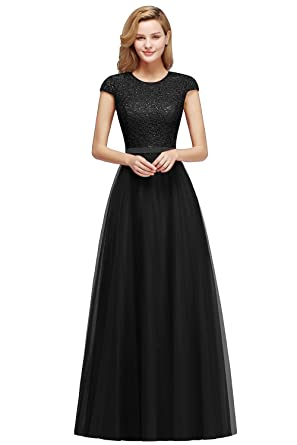 0b52a93c7 Women's A-line Tulle Prom Dress 2018 Long Embroidery Evening Gowns Black US2