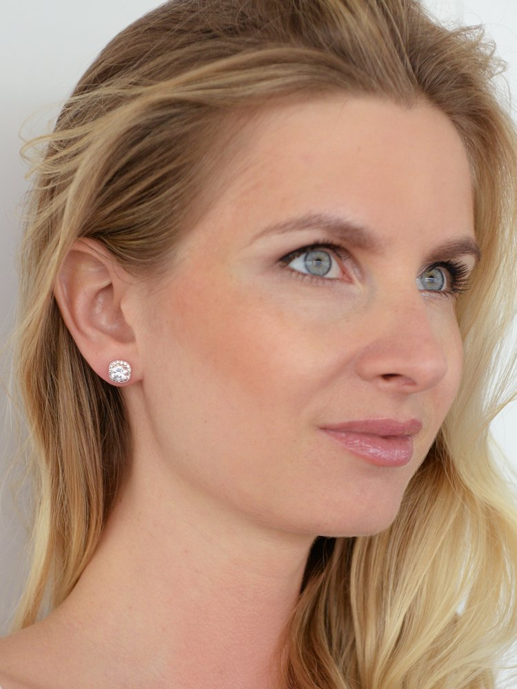 Mariell Cubic Zirconia Stud Earrings with 10mm Cushion Shaped Halos - Round-Cut CZ Solitaire Pave Studs by Mariell (Image #2)