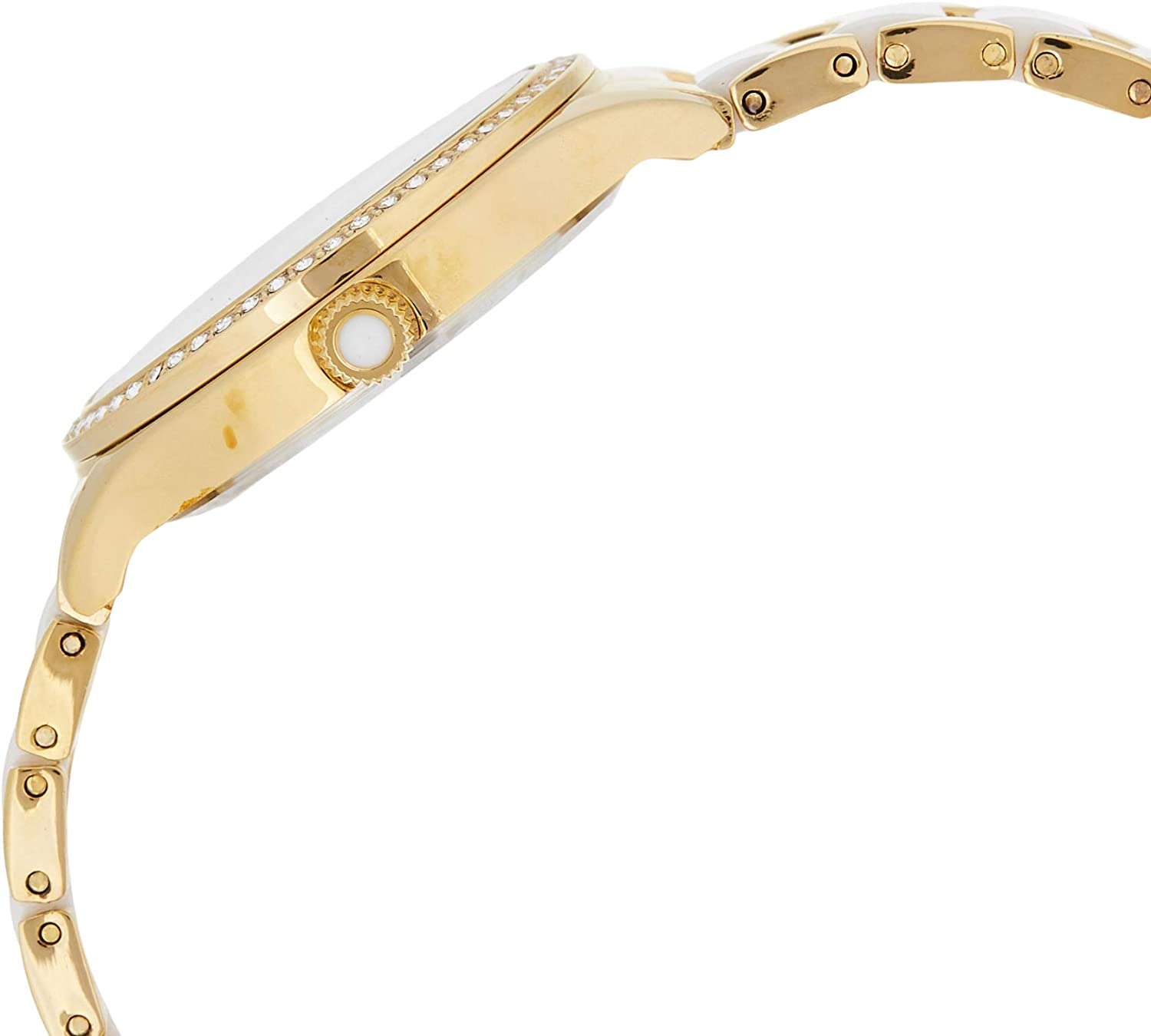 Akribos XXIV AK977 Women's Quartz Diamond Oyster Shell Pattern Bracelet Watch Gold-Tone