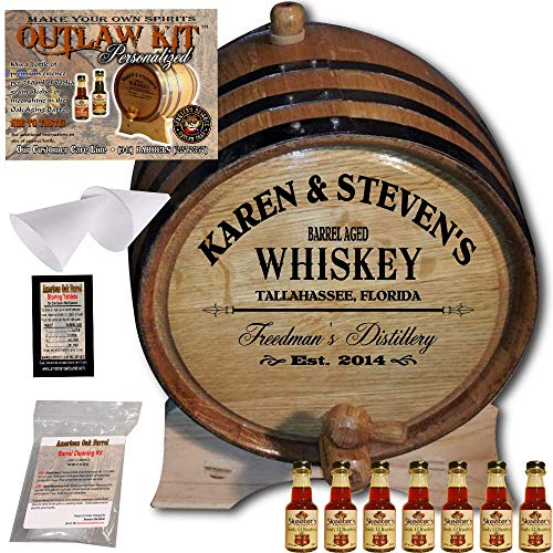 Personalized Whiskey Making Kit (063) - Create Your Own Irish Whiskey - The Outlaw Kit from Skeeter's Reserve Outlaw Gear - MADE BY American Oak Barrel - (Oak, Black Hoops, 5 Liter)