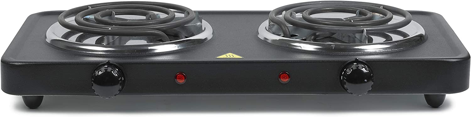 ETL Certified Black Dual Temp Control Knobs Cook Prep Eat CPEA-249 Electric Portable Double Burner Stove-Top Small 1500 WATT