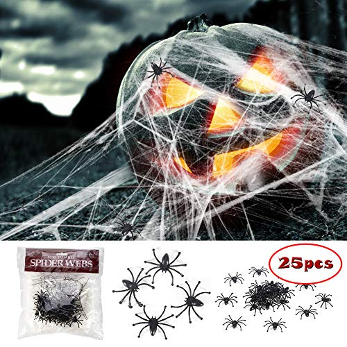 Halloween Stretch Spider Webs Webbing with 25 Fake Spiders for Halloween Outdoor/Indoor Decorations Party Supplies Funny Trick or Treat Times for $<!--$7.99-->