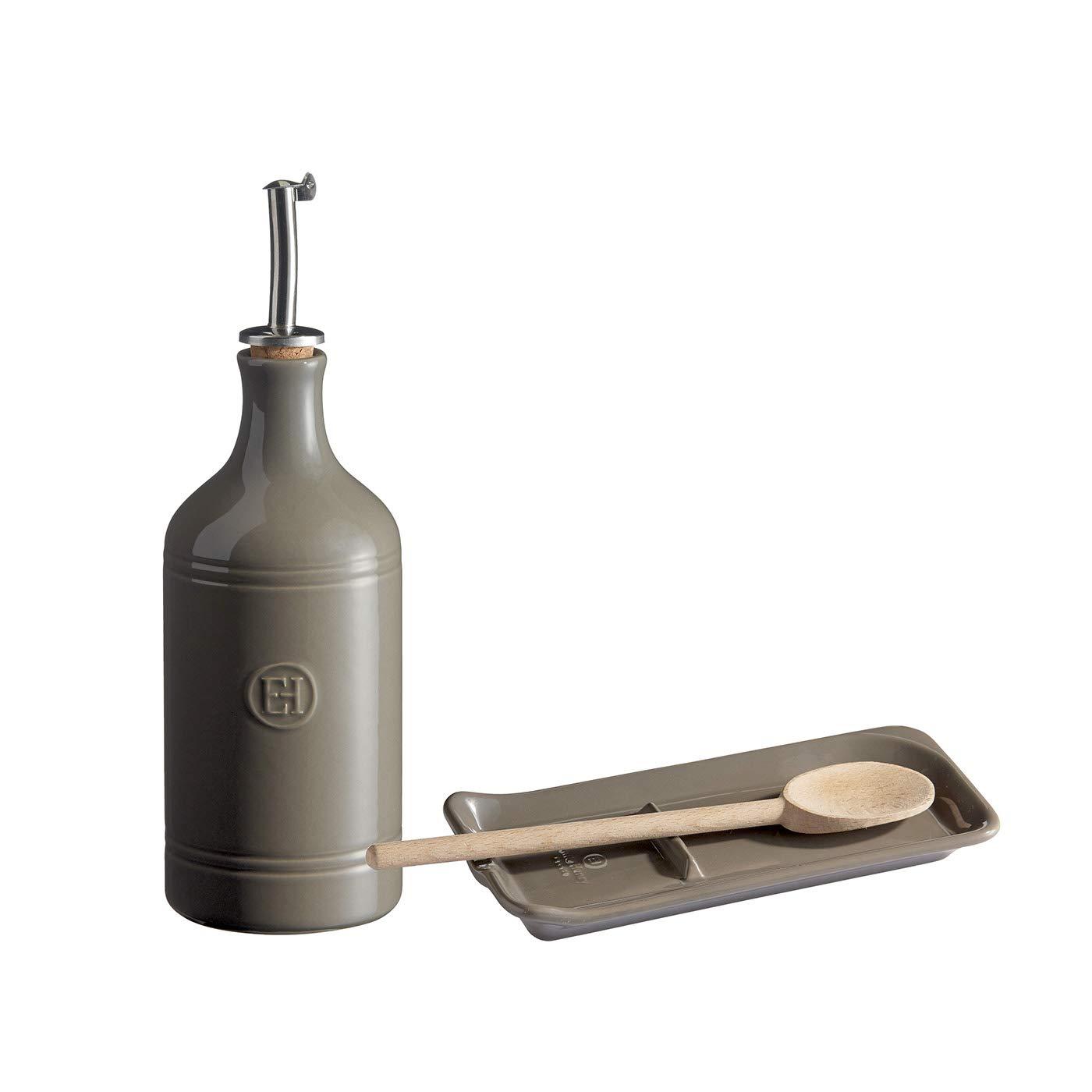 Emile Henry Oil Cruet & Spoon Rest Set with Wooden Spoon, Flint