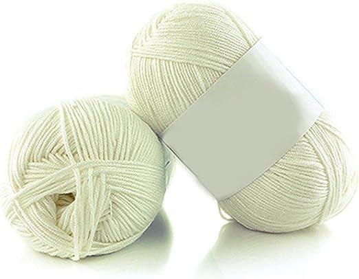 beiguoxia 1 Rollo 50 G de Lana Algodón Crochet de bambú para Tejer Suave Hilo, 2 Beige, Talla única: Amazon.es: Hogar