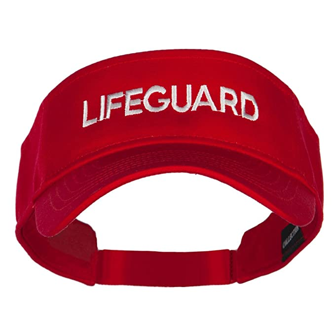 Lifeguard Embroidered Strap Back Visor - Red OSFM 6a41180d43f