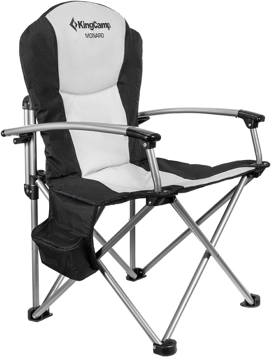 KingCamp Camping Chair Heavy Duty Folding Oversize Padded Director s Chair with Carry Bag and Cooler Bag, Supports 353 lbs