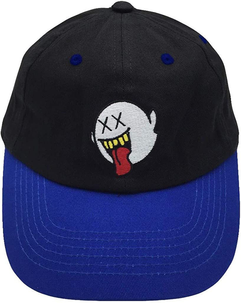 Distressed Boo Mario Ghost Baseball Cap 3D Embroidery Dad Hats Adjustable Black