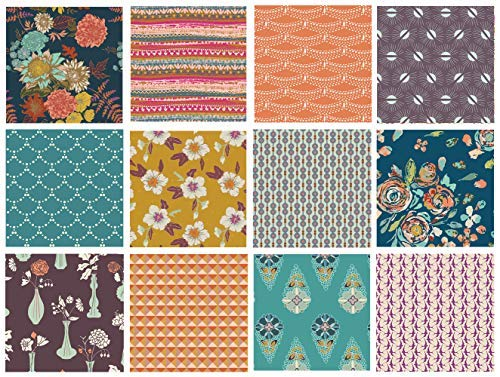 Boho Floral Fabrics for Quilting | Modern Quilting Fabric Bundle with Flowers | Autumn Vibes by Maureen Cracknell | Earth Tones Fat Quarters | Half Yard Bundle | Art Gallery Fabrics (Fat Quarters)