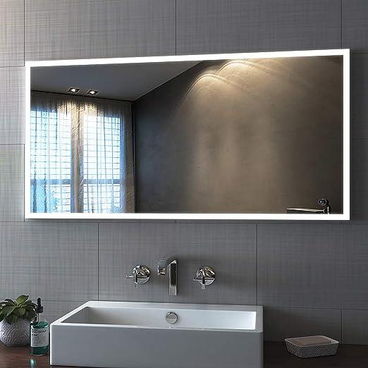 Bath mann LED Badspiegel mit Beleuchtung 120x60 cm, Wandspiegel Badezimmerspiegel Lichtspiegel Kaltweiß 6400K