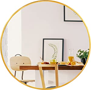 CONGUILIAO Circle Mirror 24 Inch, Gold Round Wall-Mounted Mirror, Large Round Mirror for Vanity, Living Room, Bathroom, Washrooms, Entryways Wall Decor (24 Inches, Gold)