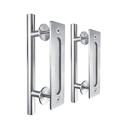 SMARTSTANDARD 12u0026quot; Pull And Flush Door Handle Set Stainless Steel Door  Pull Handle Sliding Barn