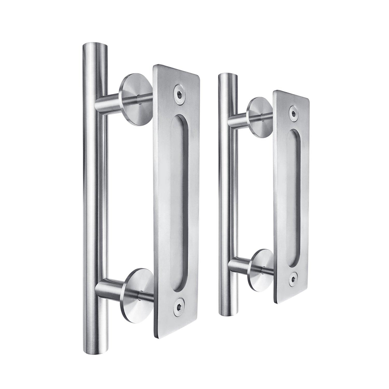 SMARTSTANDARD 12'' Pull and Flush Door Handle Set Stainless Steel Door Pull Handle Sliding Barn Door Hardware Handle Pack of 2