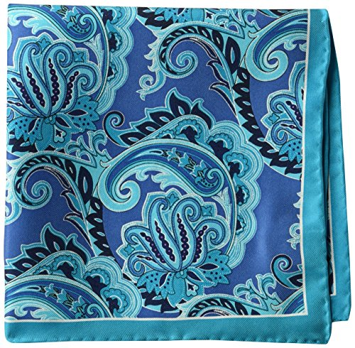 BUTTONED DOWN Men's Classic Silk Hand Rolled Pocket Square, navy paisley, One ()
