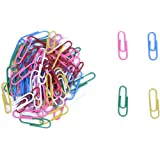 SODIAL(R) Appro.x100Pcs Plastic-Coated Paper Clips--Color Assorted