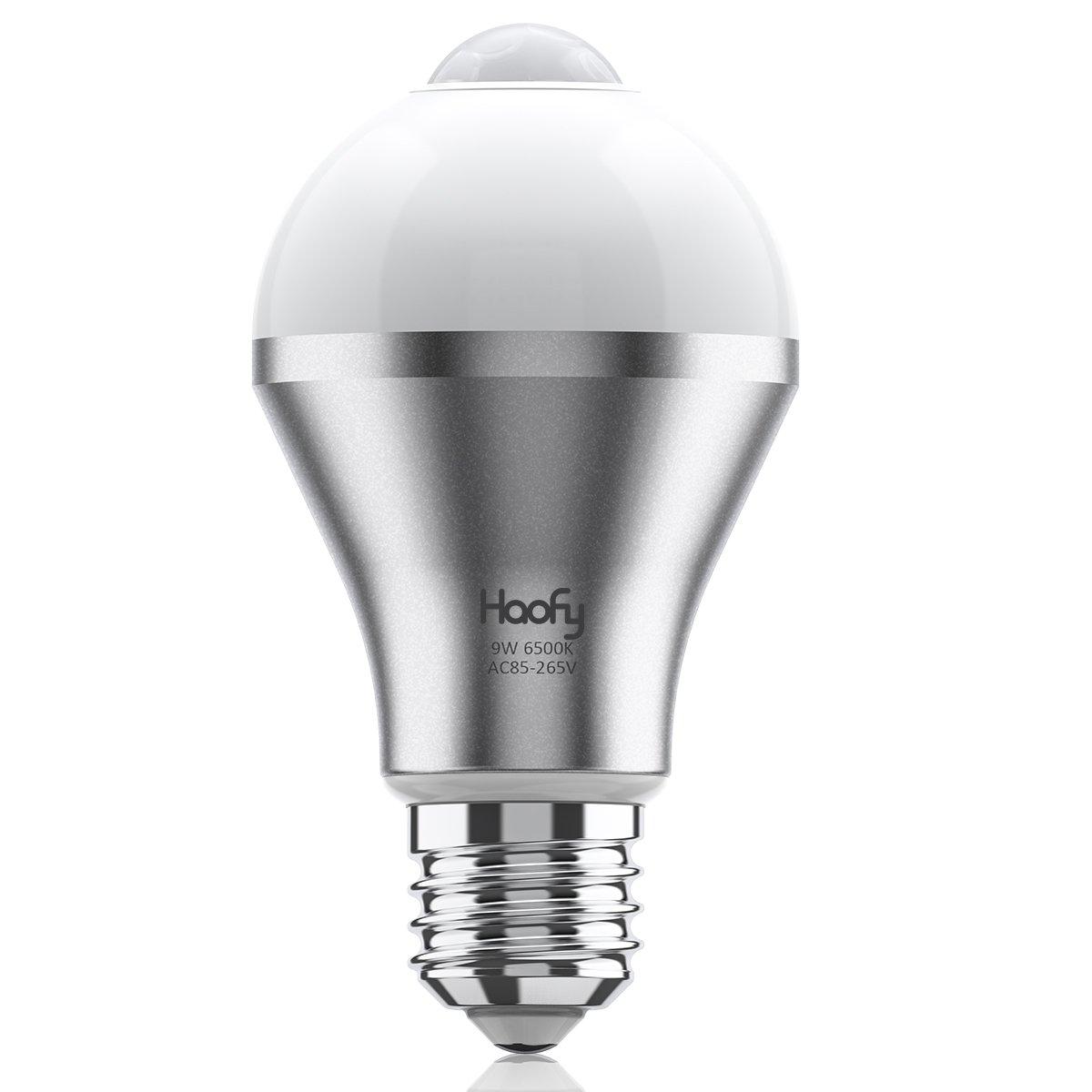 人感センサー電球,Haofy LED電球 9W E26/27人感センサーライト明暗センサー付き 赤外線センサーライト 自動点灯/消灯 省エネ 長寿命 防犯 (昼白色)