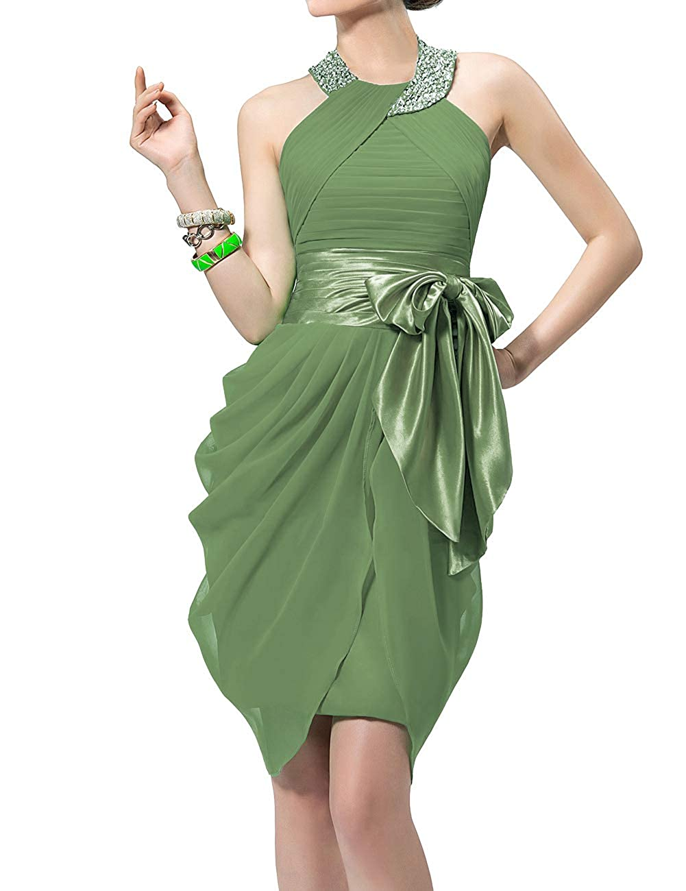 Pastel green Uther Halter Cocktail Dress Short Formal Party Gowns Beaded Pleats Bridesmaid Dresses