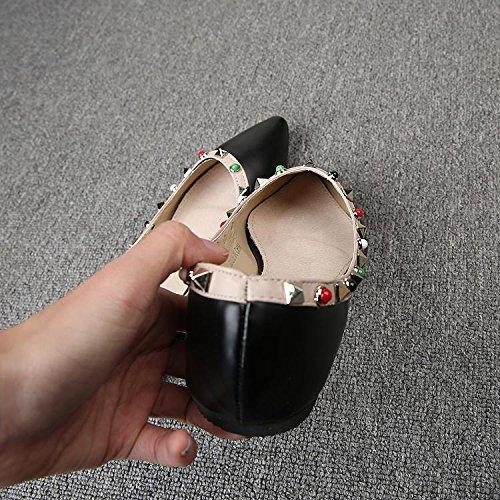 &huo Remache apuntado zapatos planos, zapatos boca baja, plana con un solo calzado 37