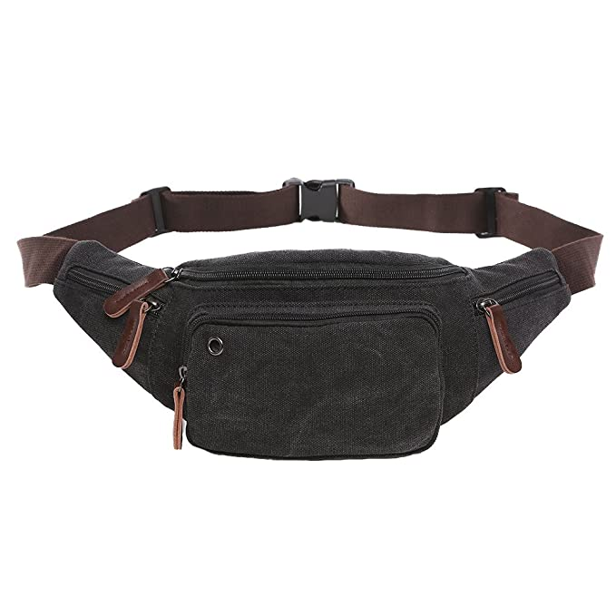 d55ae410f1d6 Yousu Unisex Canvas Fanny Pack Lightweight Classic Anti Theft Travel Mini  Waist Packs