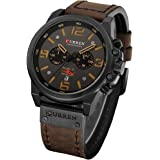Military Watches for Men Men's Leather Strap Analog Quartz Wristwatch Fashion Sport Watch for Men Chronograph Date CAOWTAN