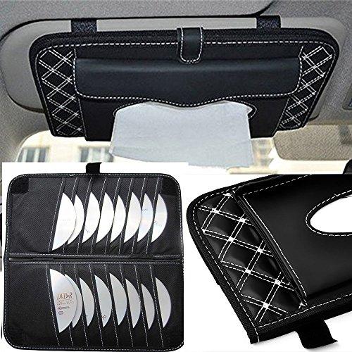 StyleZ CD Visor Organizer,Car Sun Visor Tissue Bag Multi Function Double-deck Auto Extra Car Vehicle Pocket ,CD Holder Visor with Tissue Holder,16 Cd/dvd Slots Stored Safely CD Storage Cases for Car