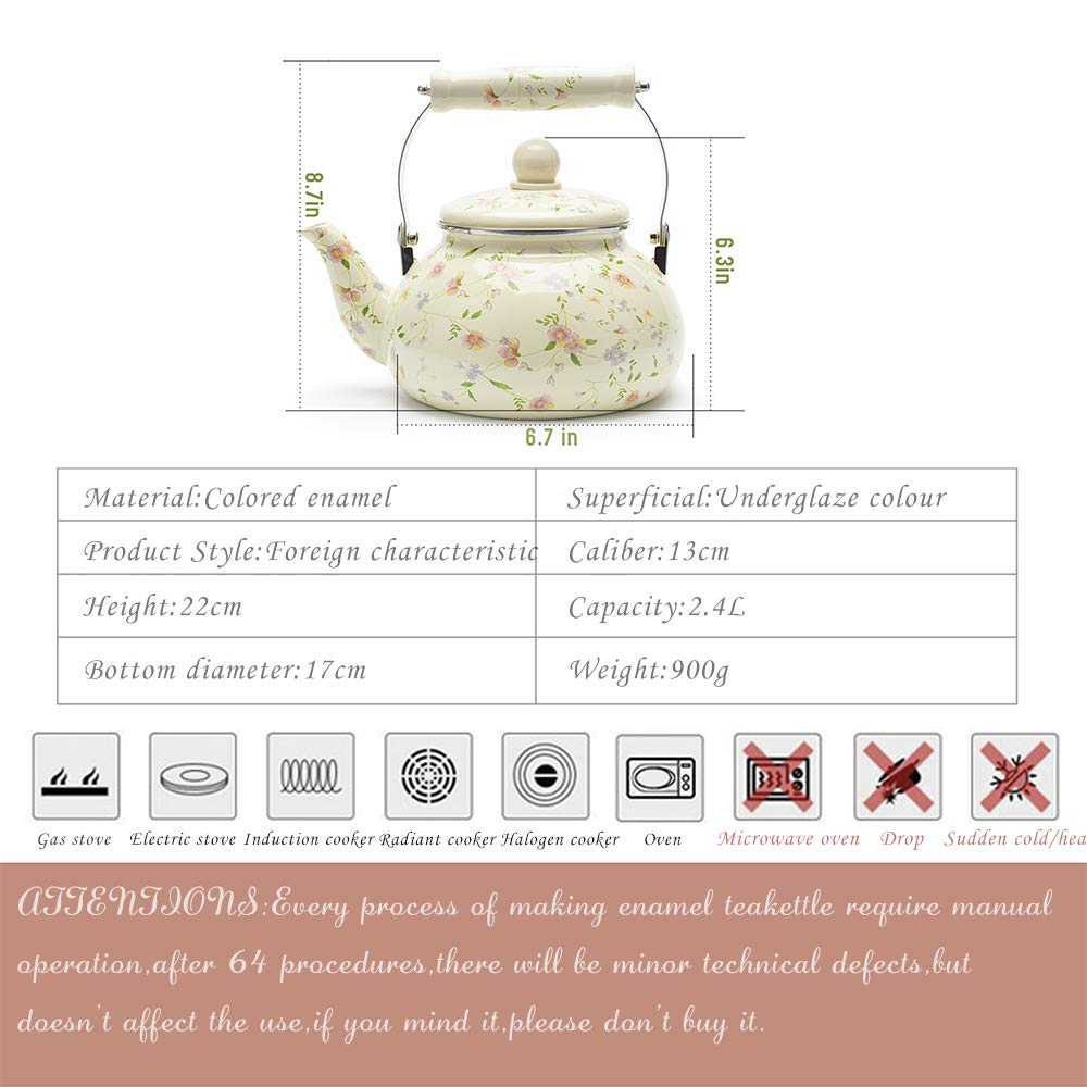 Enamel on Steel Tea Kettle, Porcelain Enameled Teapot, Halogen Induction Cooker Coffee Pot for Stovetop Retro Classic Design 2.5Qt Capacity by Alistar99 (Image #4)