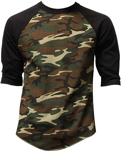 df65eafe DealStock Casual Camo Raglan Tee 3/4 Sleeve Tee Shirt Jersey   Amazon.com
