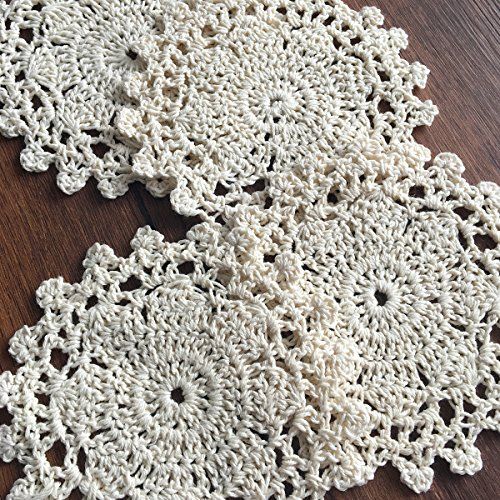 Gracebuy Pack of 4PCS Beige 4 Inch Round HANDMADE Crochet Lace Placemats Coasters ()