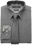 Nick Graham Men's Fine Line Stripe Dress Shirt with Geo Dot Tie Set, Black, 17''-17.5'' Neck 36''-37'' Sleeve
