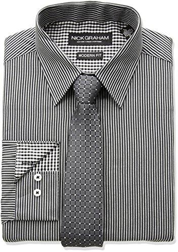 Nick Graham Men's Fine Line Stripe Dress Shirt With Geo Dot Tie Set, Black, 18