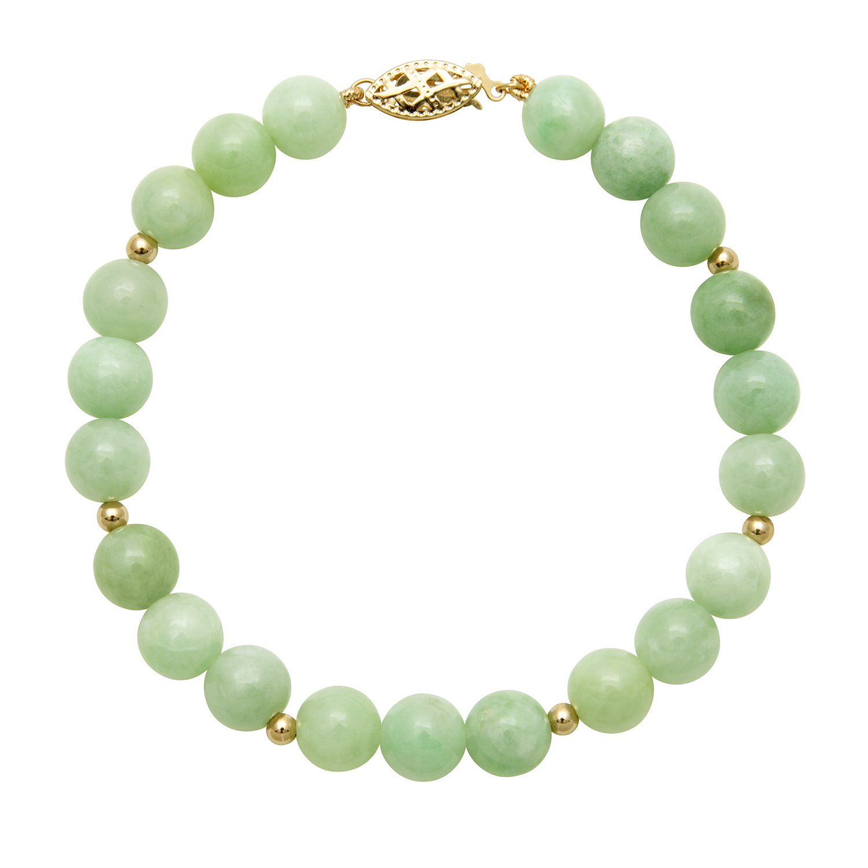 14k Yellow Gold Bead and Natural Green Jade Gemstone Strand Bracelet, 7.5''