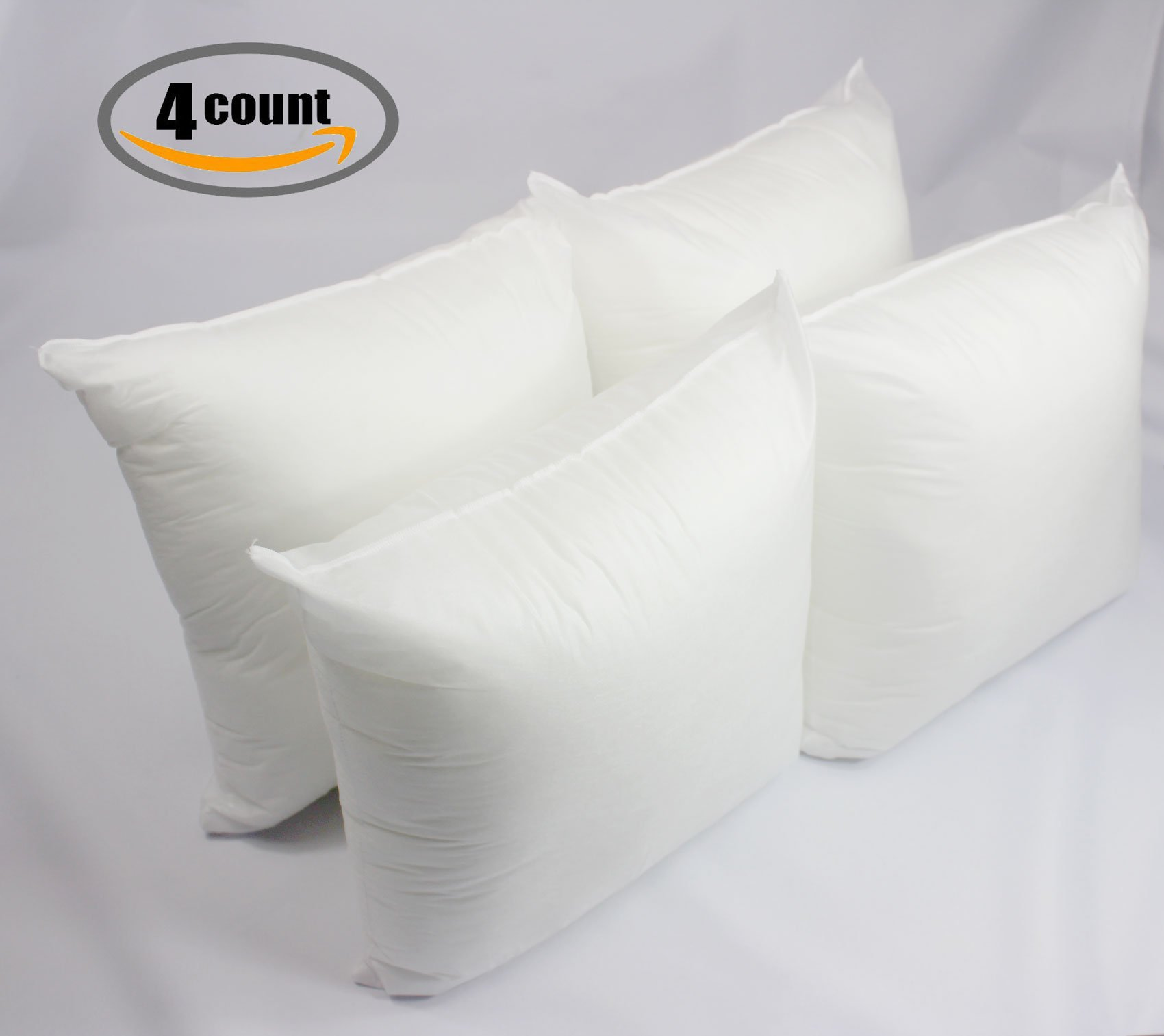 Mybecca Set of 4-18'' x 18'' Premium Hypoallergenic Cushion Pad Stuffer pillow Insert Sham Square Form Polyester Decorative Sofa and Bed Throw, Standard/White