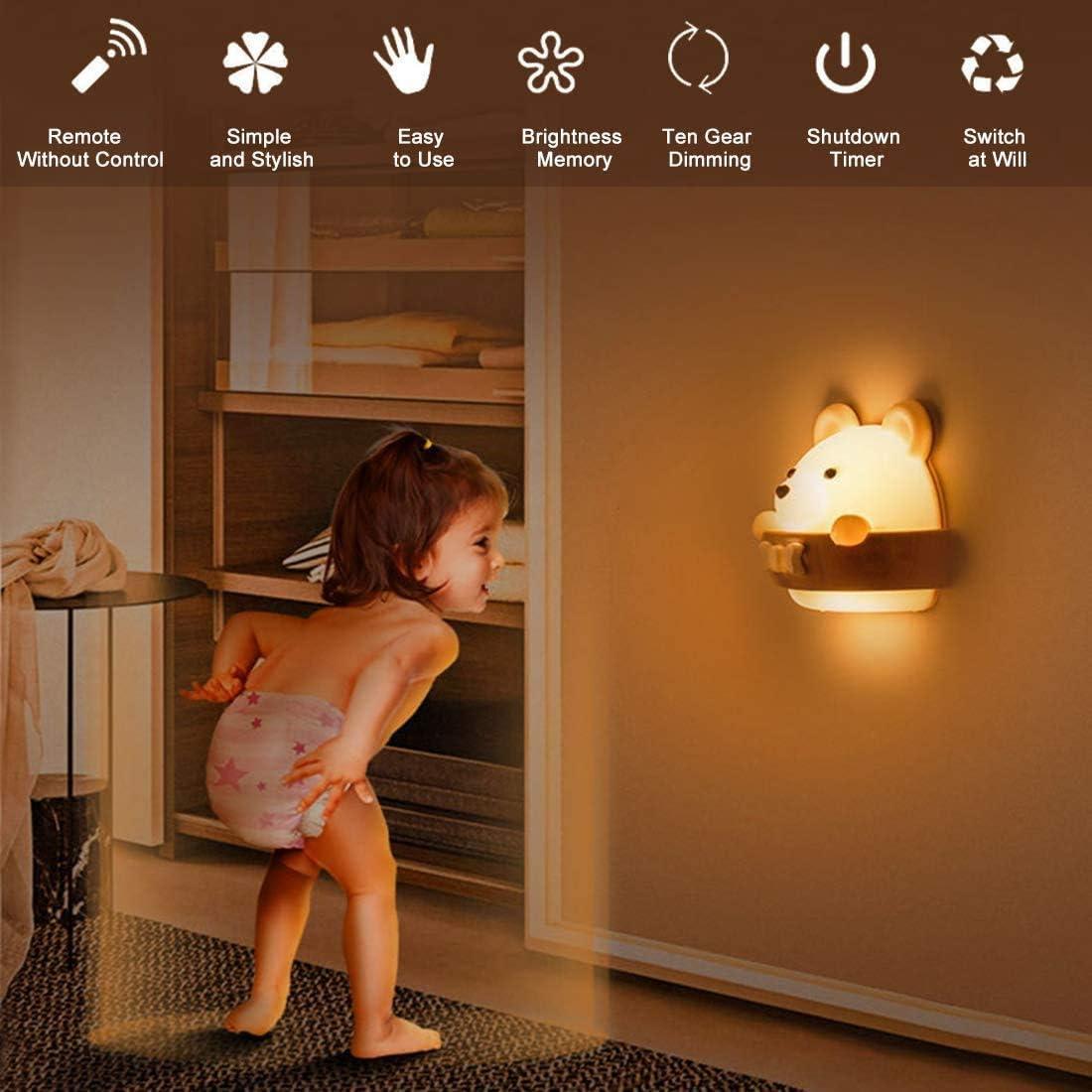 Luz Mesita de Noche Infantil Luz de Noche Para Beb/és en el Dormitorio Luz Nocturna Infantil Luz Nocturna Beb/é,l/ámpara infantil LED L/ámpara de Noche de Carga USB Port/átil Luz Amarilla Para Leer