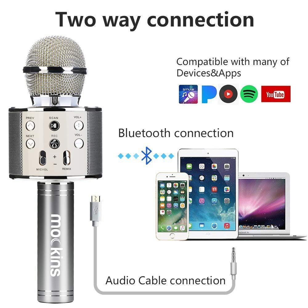 Mockins Premium Wireless Portable Handheld Bluetooth KARAOKE MICROPHONE Compatible with Android & IOS Apple - Silver ... ... ... ... ... by Mockins (Image #8)