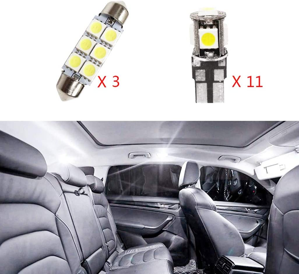 Muchkey Car Led Interior Light Bulb For Freelander2 Replacement Car Dome Light Bulb Kit 14pcs White