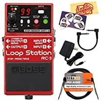 Boss RC-3 Loop Station Guitar Effects Pedal Bundle with 9V Power Adapter, Gearlux Instrument Cable, Patch Cable, Picks, and Polishing Cloth