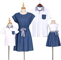 bfef685f PopReal Short Sleeve Cotton T-Shirt and Bowknot Dress Family Matching  Outfits