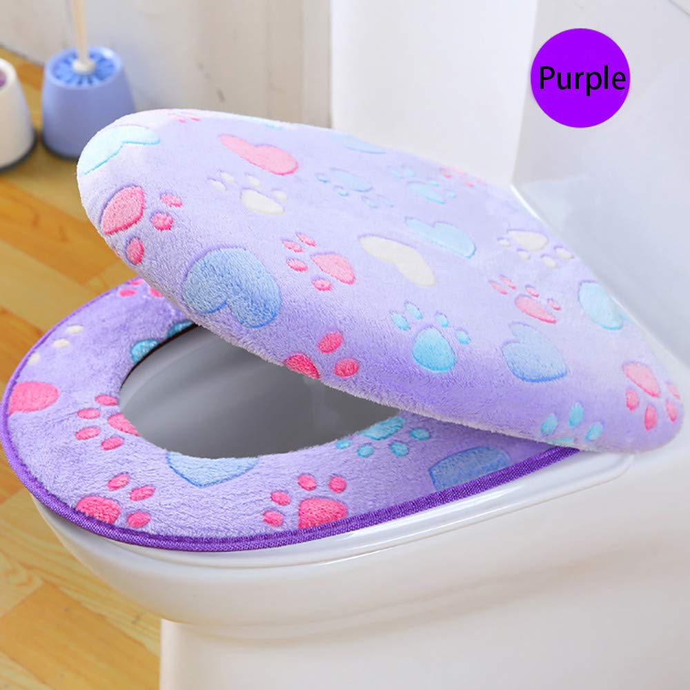 Hot Sale!DEESEE(TM)🌸🌸Coral Fleece 2 Piece Set Potty Toilet Cover Toilet Mat Comfortable Cushions Sitting (Purple)