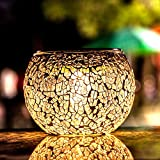 voona Solar Mosaic Glass Table Lights 2 Pack Waterproof Warm White LED Silver Night Lights Table Lamps for Outdoor Garden Indoor Decoration (Silver)