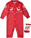 ZOEREA Unisex Newborn Baby Knitted Romper Christmas Sweaters+Socks Reindeer Red
